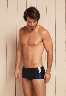 Men`s black boxers with white/navy sides - GAMA ORIONIS