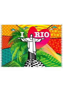 The vibrant colours of this sarong, which depicts Rio de Janeiro, will make you look irresistible on the beach.   - CANGA LOVE RIO POP