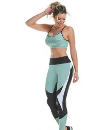Textured water green and black fitness set: bra and leggings - IMPACTUS RECORTES