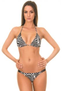 Brazilske Bikiny - LONG HALTER LEATHER BIKINI ZEBRA