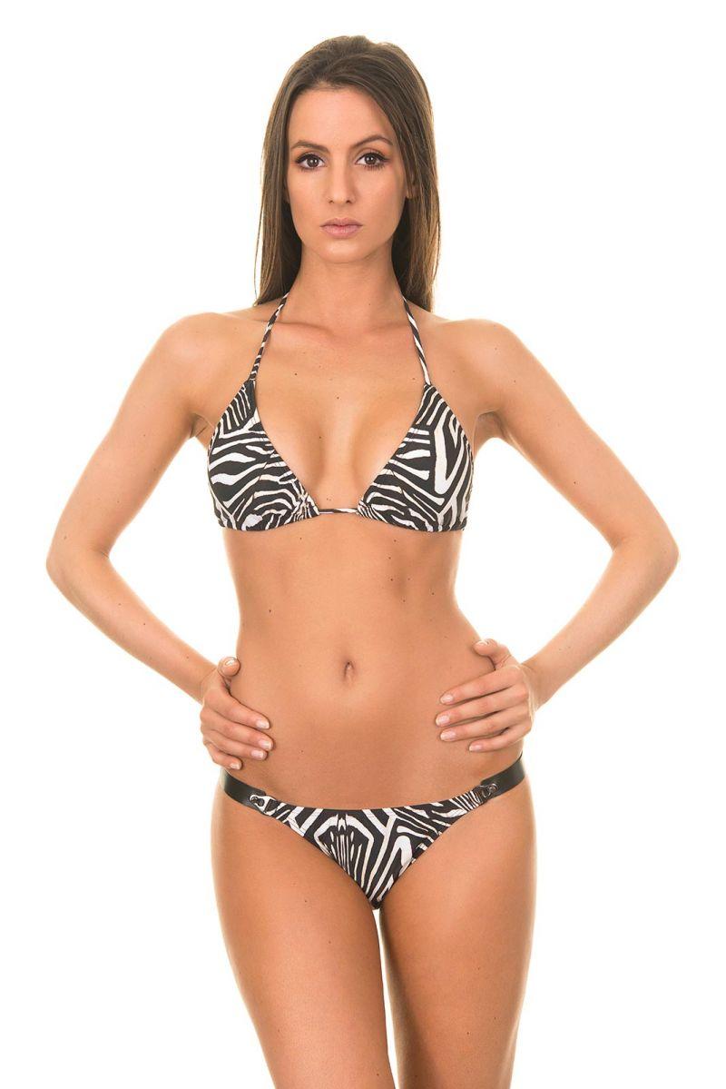 Brazilian Bikini - LONG HALTER LEATHER BIKINI ZEBRA
