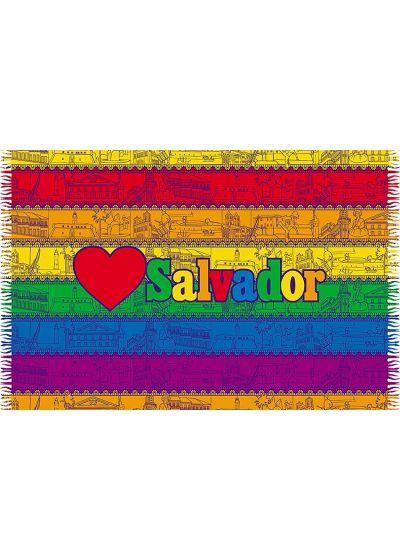 Pareo i flerfärgade ränder och inskriften Salvador - LOVE SALVADOR