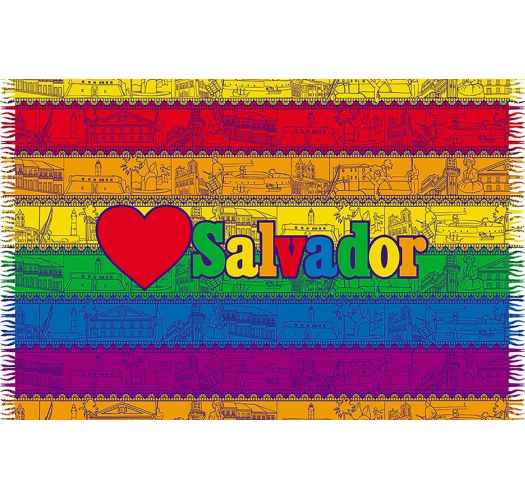 Colourful striped pareo with Salvador message - LOVE SALVADOR