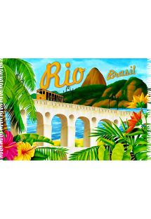 Plunge into legendary Rio with this pareo which pays tribute to the city&#39s yellow tramway - LAPA RETRO
