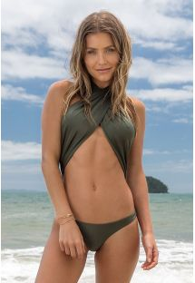 Iridescent khaki 1 piece swimsuit tied around neck - CROCO MAIO