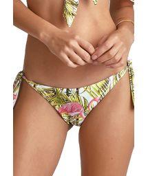Side-tie scrunch bikini bottom in pink flamingos - BOTTOM BIKINI FLAMINGO BRANCO