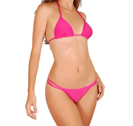 Pink double strap Brazilian bikini with triangle top - PINK CORT DUO