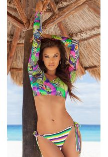Long sleeve bikini crop top with fringed base - BOSSA FRANJA