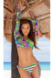 Bikini crop top maniche lunghe con stampa geometrica - BOSSA FRANJA