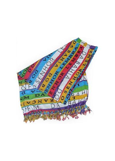 Tryckt sarong med färgade band CANGA BONFIM