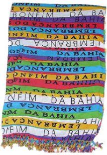 Farvestrålende pareo med mønster af små bånd som bringer lykke CANGA BONFIM