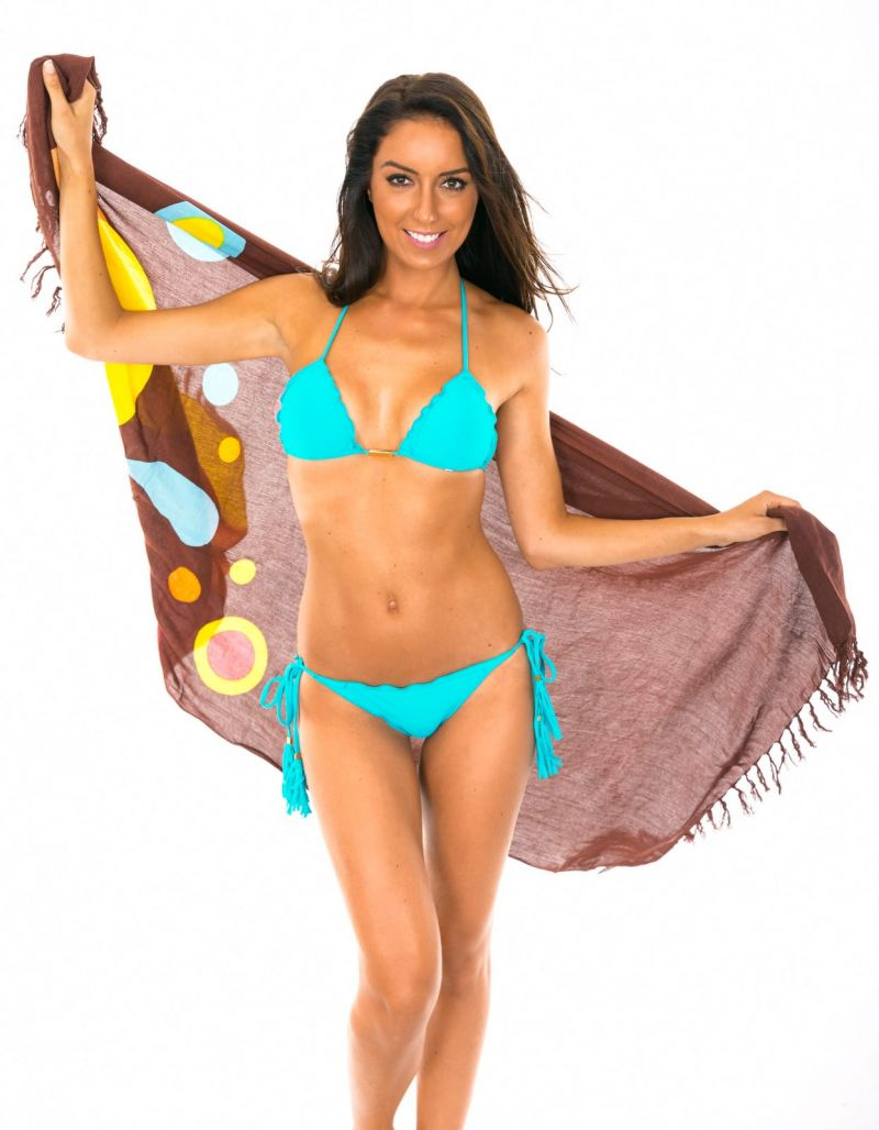 Brown fringed pareo with colourful drops pattern  - Canga RiodeSol Brown