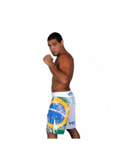 Badkläder för män - VENUM BRAZILIAN FLAG FIGHTSHORTS - WHITE