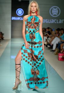 Luxurious turquoise/brown dress - LONG DRESS BOHEMIA TURQUESA