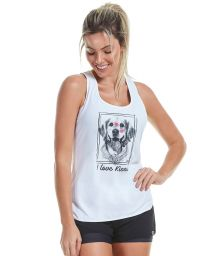 White fitness tank top with a dog drawing - REGATA SKIN FIT INSPIRACIONAIS