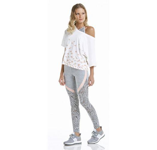 White sporty t-shirt with bird pattern - T-SHIRT CROPPED PÁSSAROS BRANCO