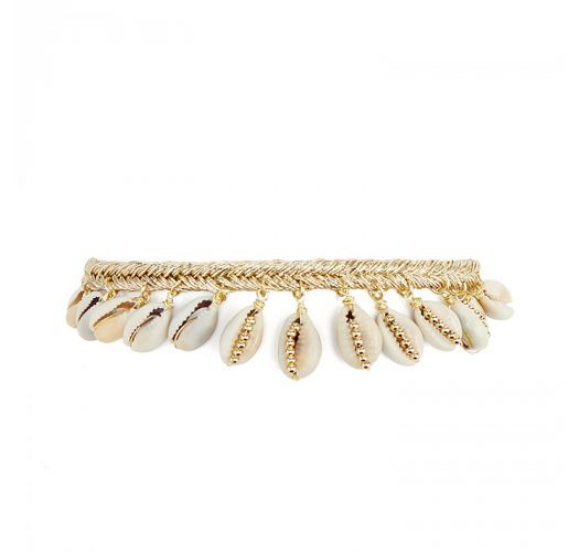 Golden lurex braided anklet with cowrie shells - HAKA WHITE HIPANEMA