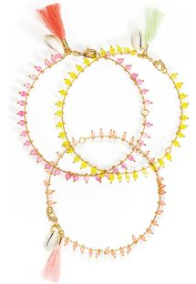 Set of 3 coloured ankle bracelets with beads - HIPANEMA PRAIA PINK
