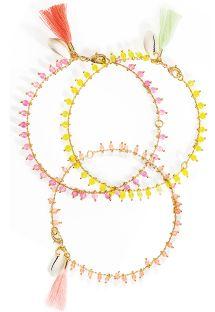 Lote de 3 pulseras tobilleras de colores con perlas - HIPANEMA PRAIA PINK