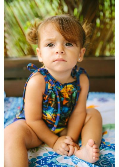 Baby girl swimsuit in tropical and striped print - MEL BABY ENTARDECER