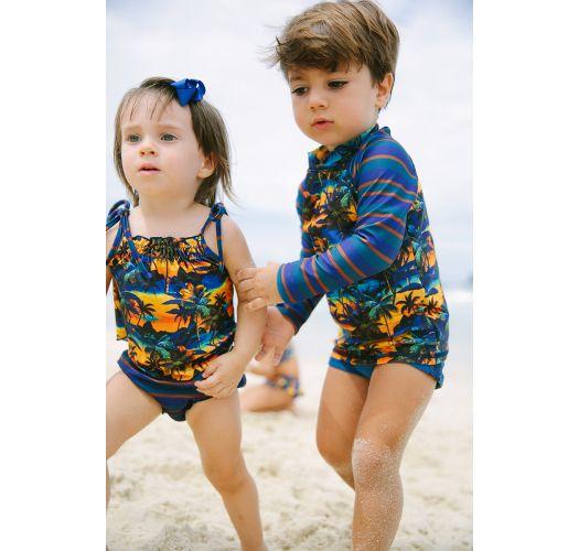 Купальник для девочки с верхом тропической расцветки и плавками в полоску - MEL BABY ENTARDECER