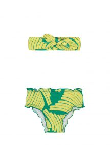 Baby swim panties and headband in green print - BANANA YELLOW BABY