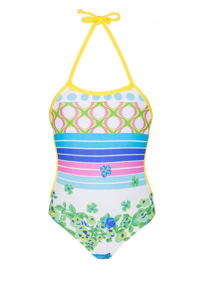 Детский слитный купальник с полосками и цветочными мотивами - FLORZINHA