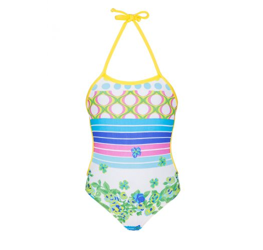 One-piece swimsuit for baby, stripes and flowers - FLORZINHA