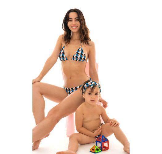 Gemusterte Badehose, Baby-Mädchen, Haarband - GEOMETRIC BABY