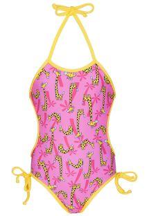 Costumino da bambina, rosa, con giraffe - GIRAFINHAS