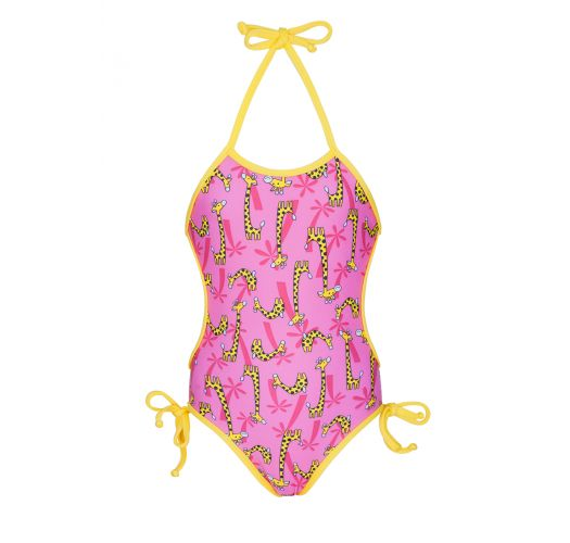 Pink one piece swimsuit for baby with giraffe pattern - GIRAFINHAS