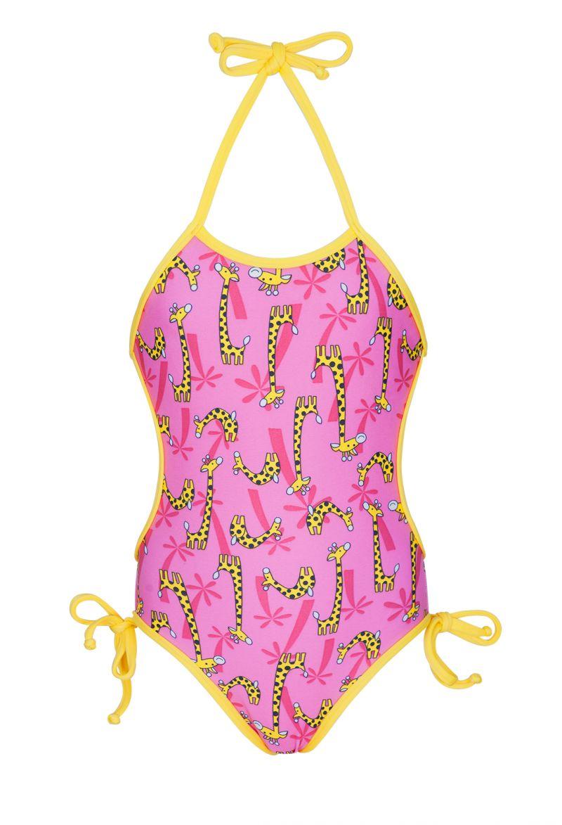 Детский слитный купальник розового цвета с жирафами - GIRAFINHAS