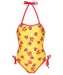 Yellow one-piece swimsuit for baby with ladybirds - JOANINHA