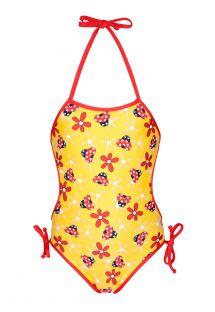 Jednoczęściowy dziecięcy kostium kąpielowy, żółty w biedronki - JOANINHA