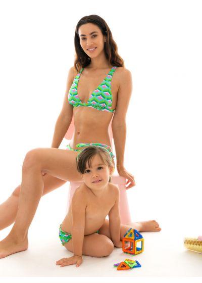 Badblöjbyxa och hårband, grafiskt mönster på grön botten - MERMAID BABY