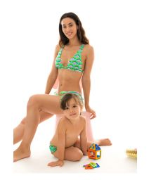 Geometric green swim nappy and head band - MERMAID BABY