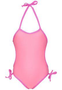 Детский слитный купальник розового цвета с полосатой окантовкой - PANTERINHA