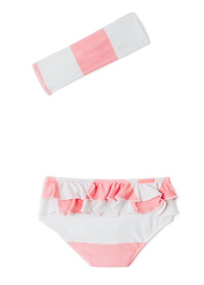 Baby girl pink striped swimsuit with headband - BABY BABADO CLUB