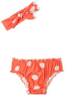 Bikiniasetelma pikkutytöille - valkoisia täpliä oranssilla pohjalla - BABY FRUFRU POP
