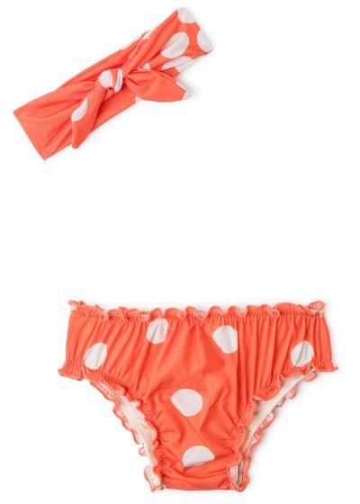 Детский купальник оранжевого цвета в горошек с повязкой-бандо для головы- BABY FRUFRU POP