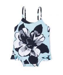 1-piece pale blue floral swimsuit for infant girl - FLORALZINHO