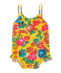 One-piece baby swimsuit, yellow with flowers - MELODY BABY