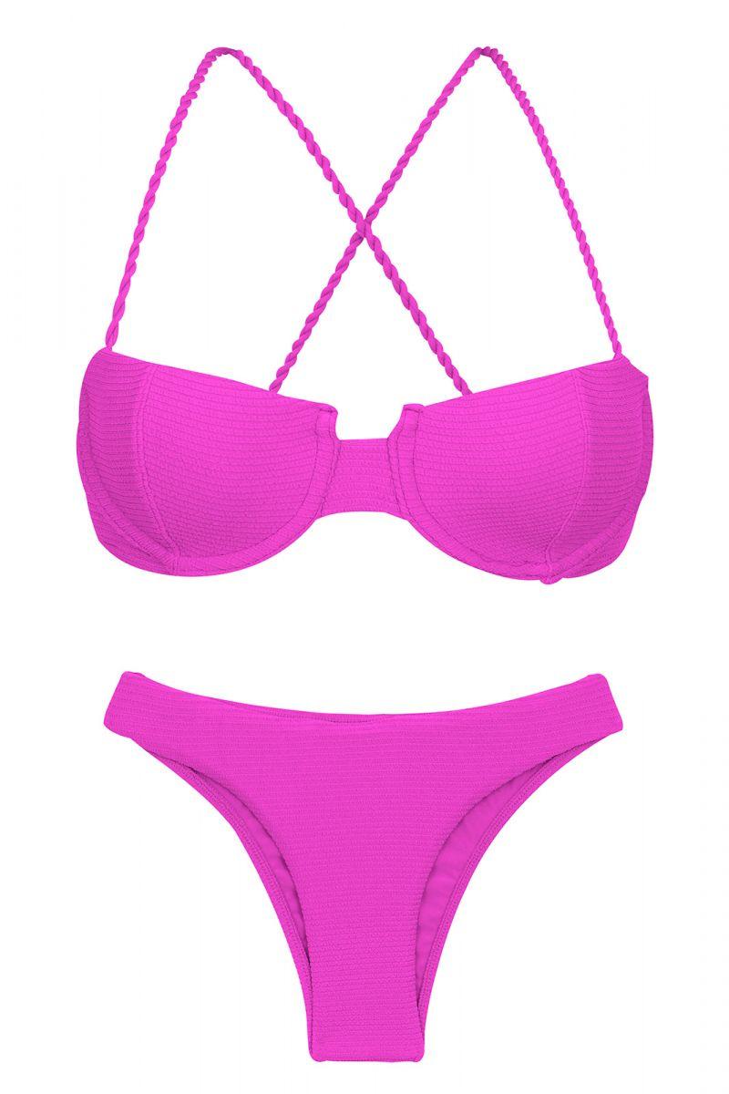 Textured magenta pink balconette bikini with crossed straps - SET ST-TROPEZ-PINK BALCONET ESSENTIAL