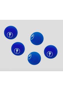 Conjunto de 5 bolas frescobol azuis - 5 BAT BALLS BLUE