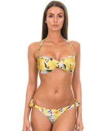 Yellow and white bandeau bikini, Brazilian-style bottom with ties - CARDUME AMARELO