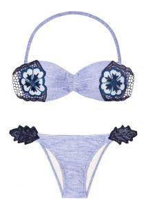 A blue bandeau bikini with braided parts - FLOR RICHELIEU