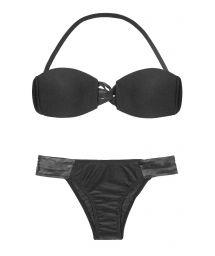 Black bandeau top bikini with leather straps - JERICOACOARA