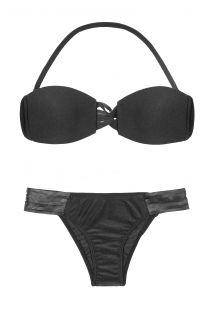 Black bandeau top bikini with leather straps - JERICOACOARA
