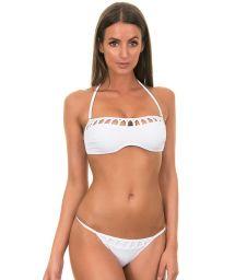 White Brazilian bikini with openwork bandeau top - PIQUET BRANCO
