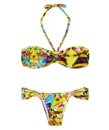 Yellow printed bandeau bikini, fixed accessorised bottom - BRILHANTE FURTACOR